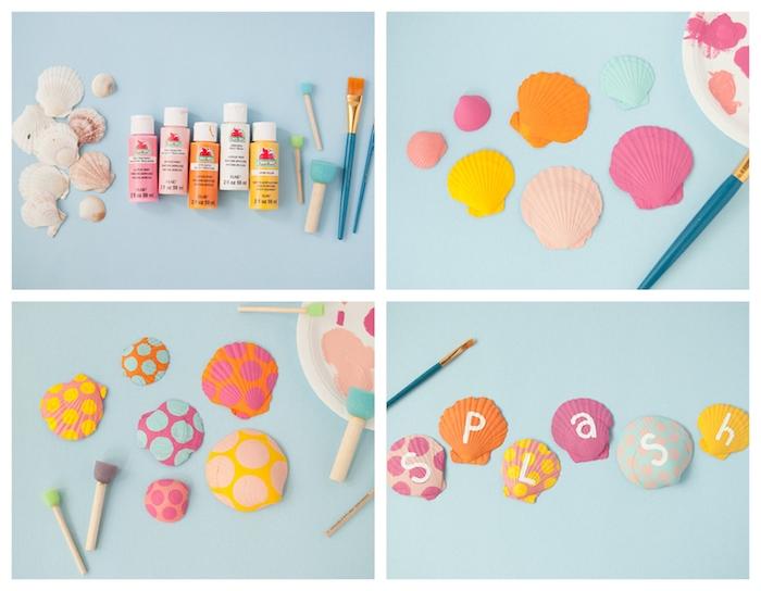 activité manuelle été avec des coquillages repeints avec motif lettres en peinture et polka dot pois colorés pour decorer