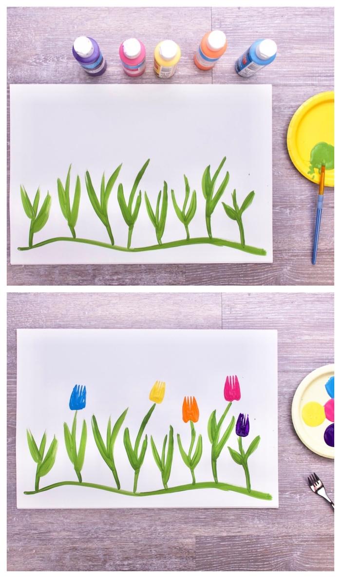 activité manuelle maternelle dessin peinture fleurs en empreintes de fourchette sur bout de papier vierge