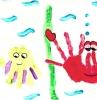 activité peinture 3 ans idée dessin à empreinte de main fond marins exemple bricolage pour tout petit original