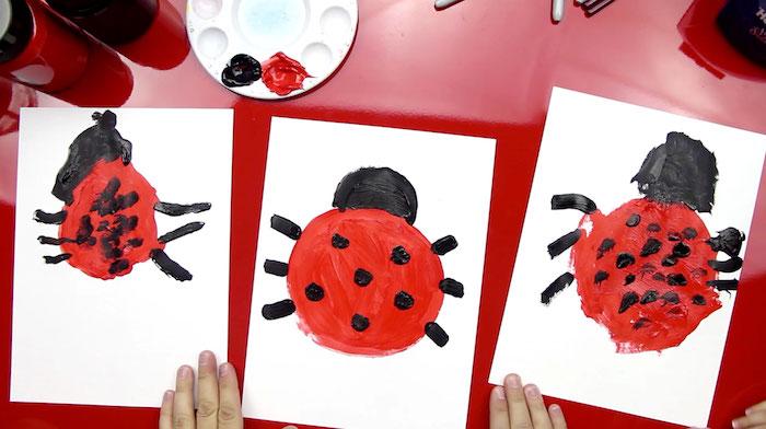 activite enfant 2 ans comment dessiner une coccinelle corps forme ronde avec des pieds noirs et tête ronde noire