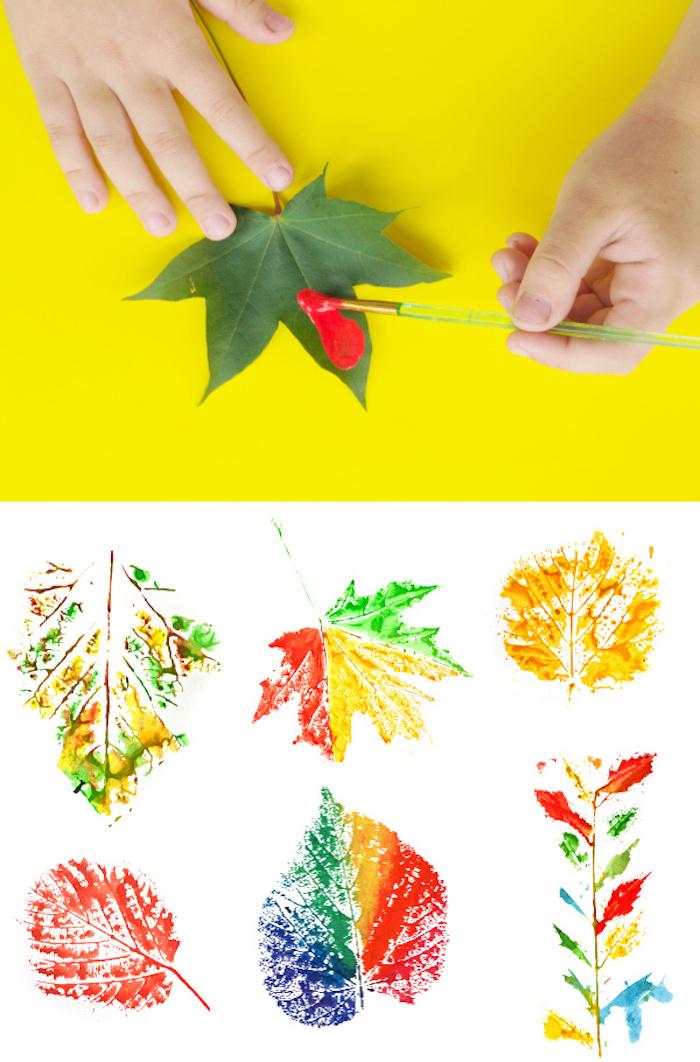 activite enfant 3 ans avec de la peinture laisser des empreintes de peinture sur un bout de feuille bricolage pour tout petit