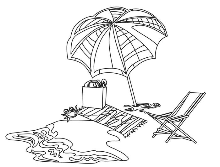 art méditation illustration blanc et noir repos vacances parasol chaiselongue serviette plage jouets enfants mer dessin d été