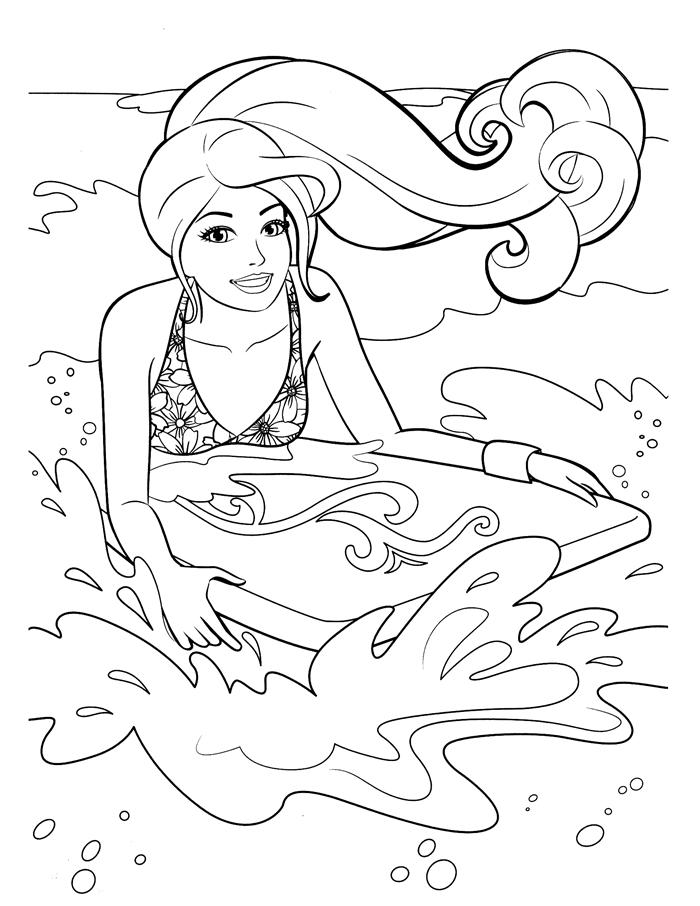 barbie cheveux longs maillot motifs fleurs surf vague mer vacances été dessin pour fille coloriage thérapie dessin été plage