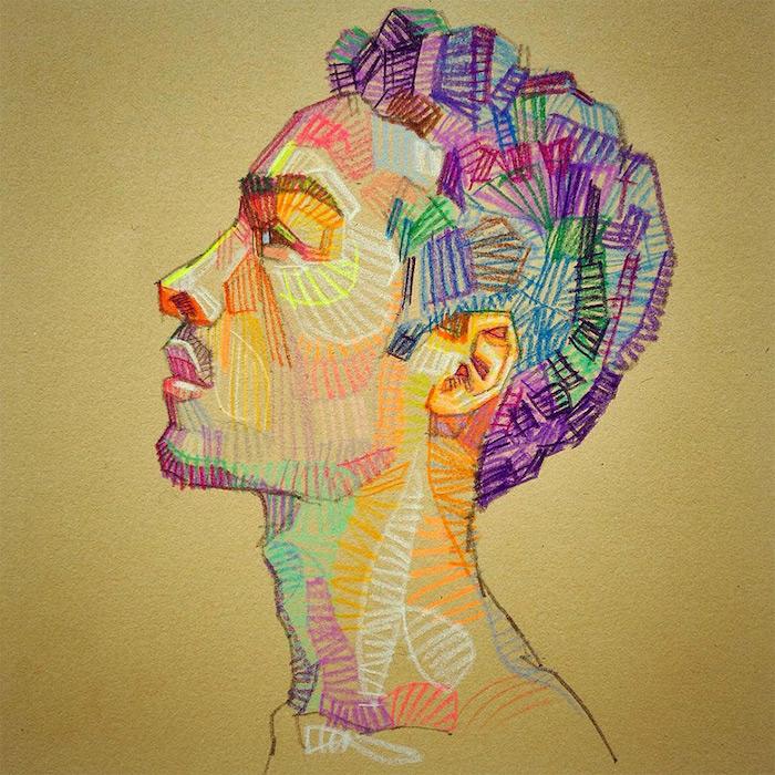 beau dessin d homme coloré portrait original geometrique motif comment dessiner un garçon tumblr photo de dessin tumblr