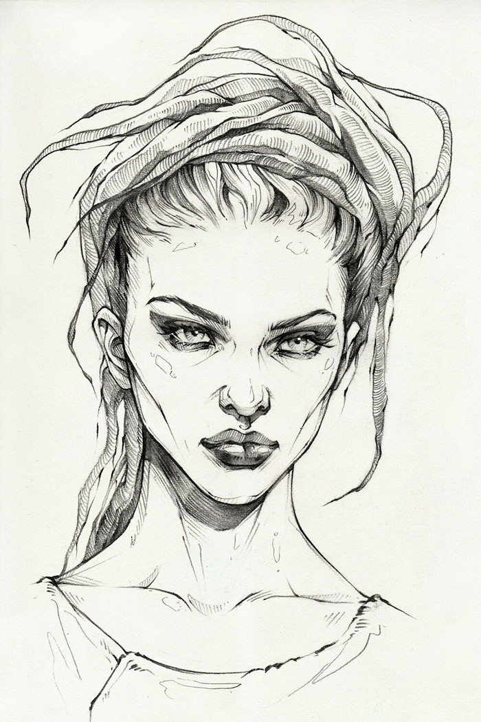 beau dessin de femme lignes droites claire obscure jeu comment dessiner une fille kawaii photo de dessin tumblr cheveux longs traites de visage jolies