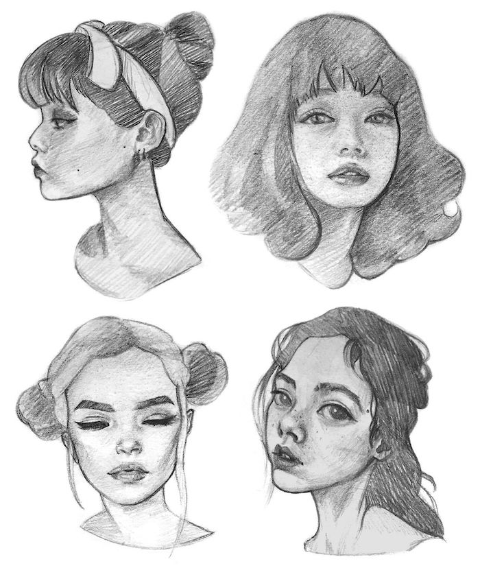 beaux dessins de visage fille differentes coiffures et angles dessin d une fille inspiration que dessiner au style tumblr