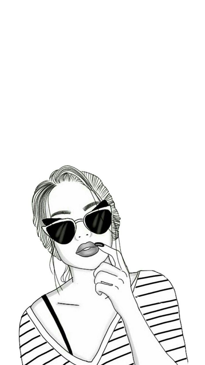 belle femme moderne lunettes de soleil dessin tumblr facile idée de dessin à retracer image a copier t shirt rayé