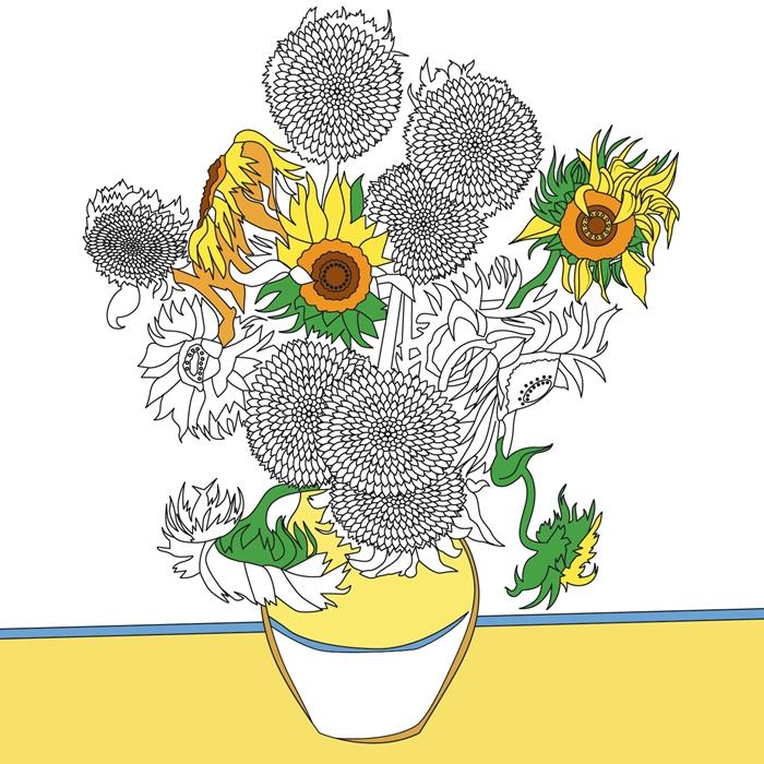 bouquet fleurs d été dessin à imprimer gratuit vase tournesol dessin en couleur image blanc et noir à colorer dessin tournesol