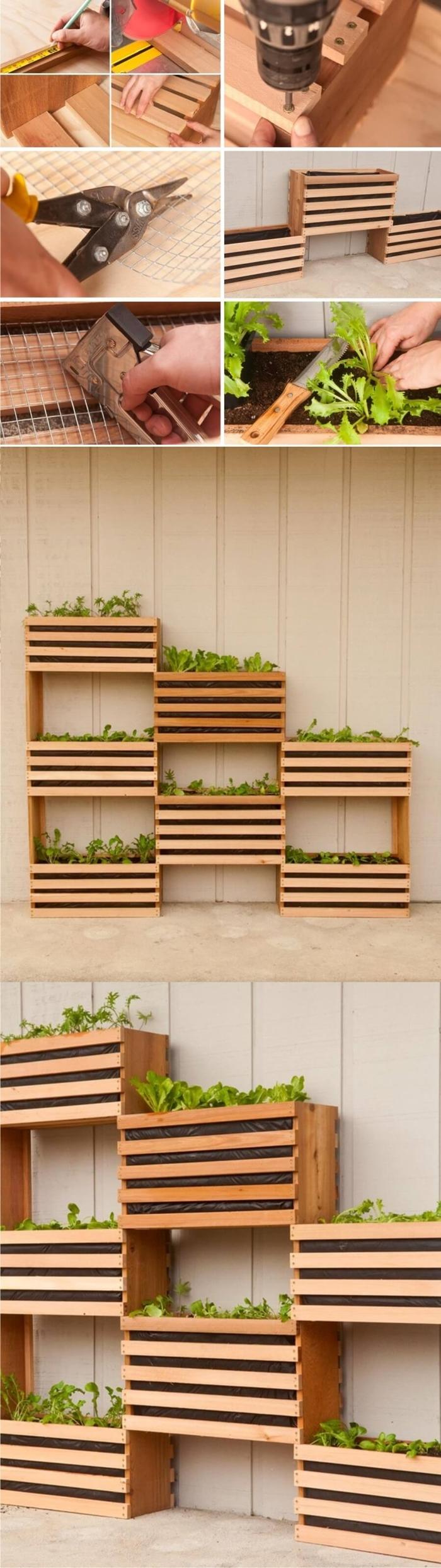 bricolage facile été fabrication jardinière pour balcon tutoriel diy meuble en planches de bois pour plantes balcon rangement mural