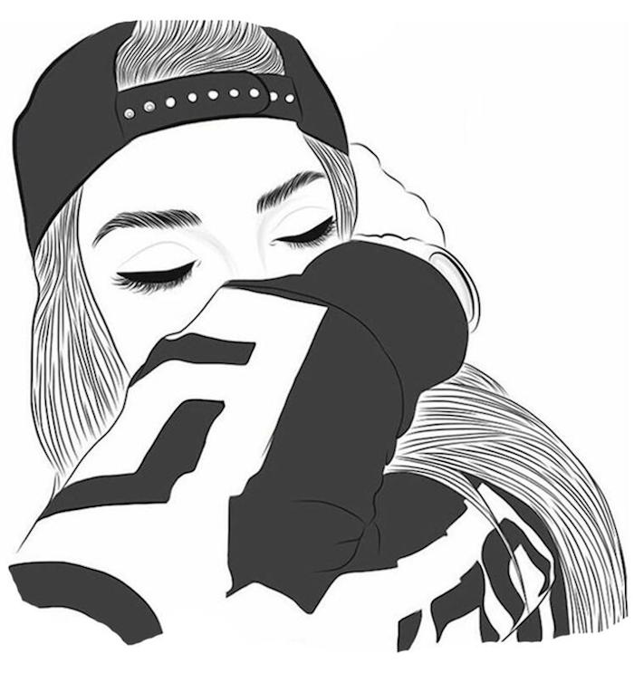casquette noire sur la tête fille aux cheveux longs sweat shirt noir et gris dessin visage yeux fermés dessin tumblr facile idée de dessin à retracer image a copier
