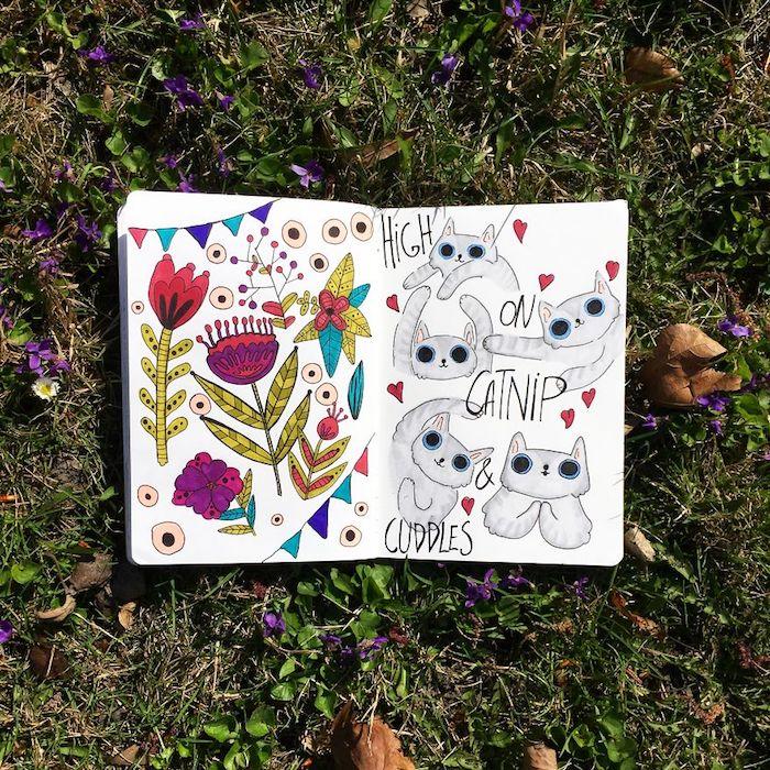 chat dessin dans cahier d esquises et page avec fleurs comment dessiner une fille inspiration dessin tumblr a copier