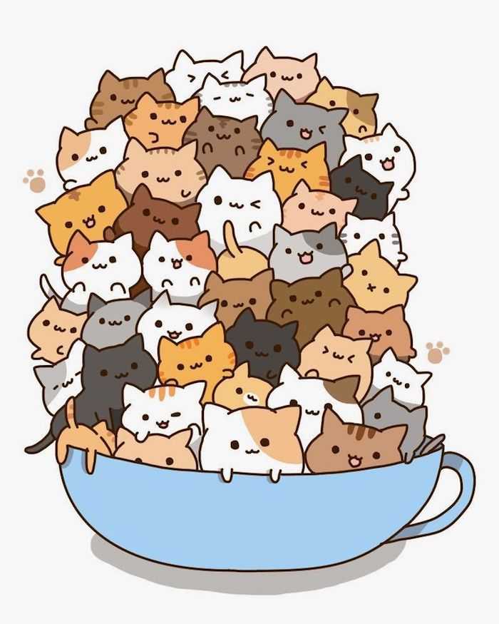chat kawaii tasse pleine de chatons idée comment faire un dessin kawaii a imprimer vidéos de dessin adorable art chaton