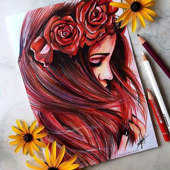 coloré dessin rouges cheveux couronne de roses belle fille portrait dessin fille noir et blanc swag dessins à faire soi meme
