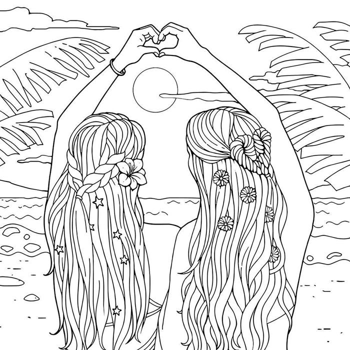 coloriage été amitié filles hippie vacances plage bord de mer soleil palmier cheveux tressés coiffure fleurs nuages bracelet vague mer