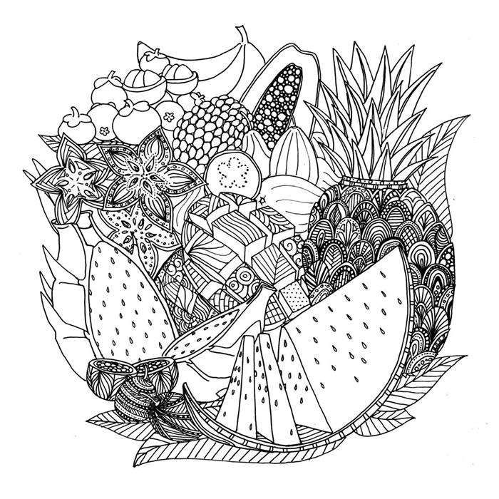coloriage été pour adulte illustration mandala fruits ananas mandala lignes géométriques fleur mandala fruits d été colorage