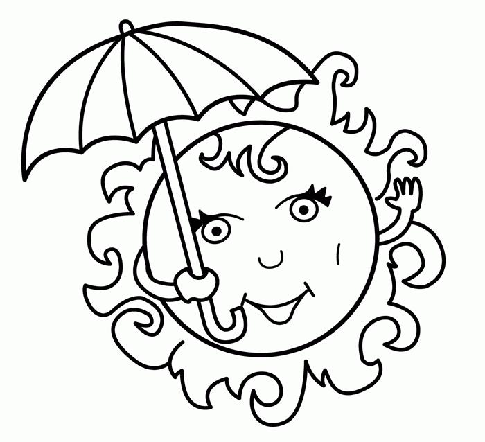 coloriage petite section facile pour enfant art dessin maternelle loisir image soleil illustration yeux sourire parasol dessin été