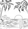coloriage plage paysage nature coucher de soleil île palmier vague mer eau surf sable soleil lieu exotique dessin à imprimer