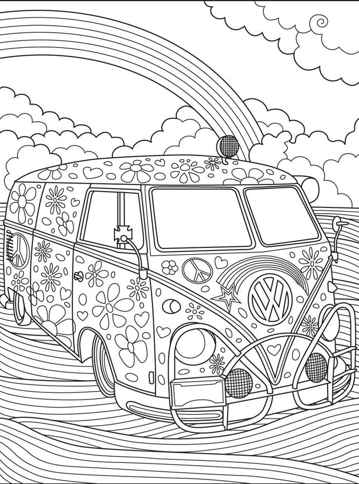 coloriage vacances été voyage aventure dessin hippie blanc et noir thérapie méditation loisir arc en ciel nuages véhicule fleurs