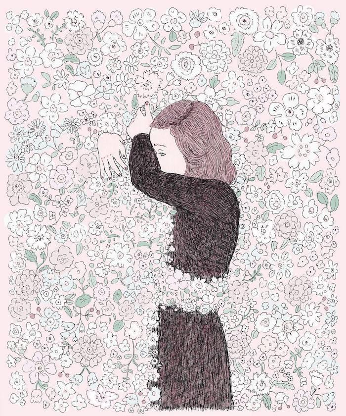 comment dessiner une fille kawaii photo de dessin tumblr fleurs fille qui embrasse un silouette invisible des fleurs