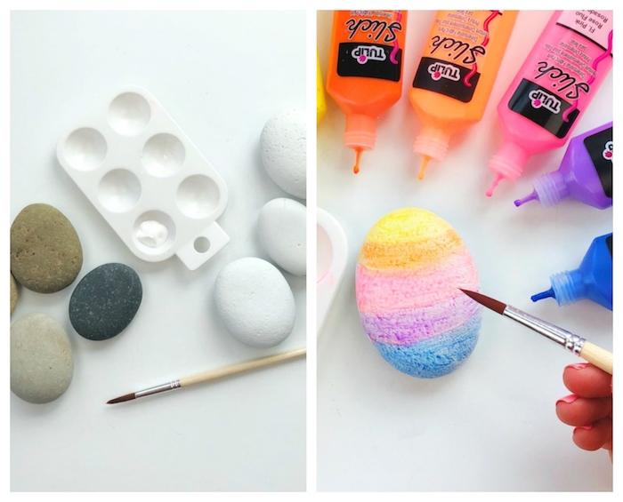 comment peindre des galets de peinture 3d de couleurs variées support galet peinture maternelle