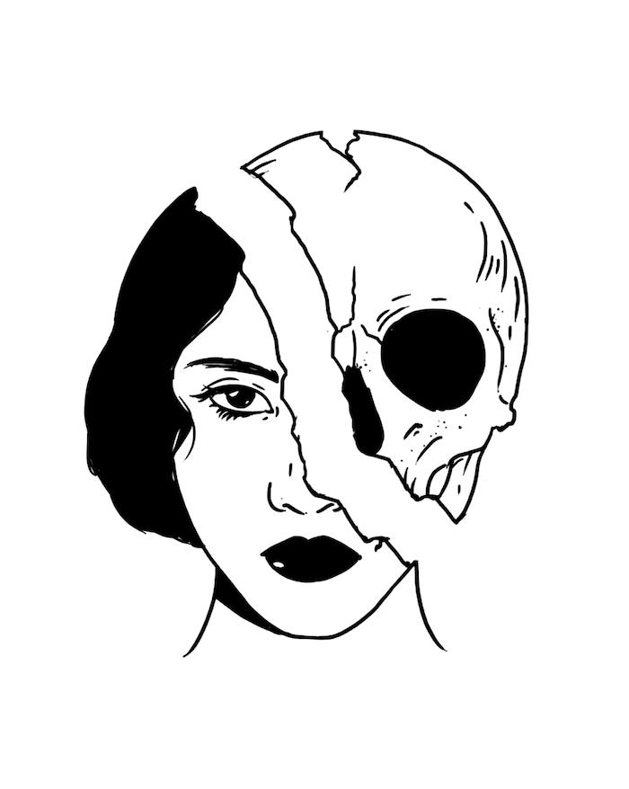 cool idee quoi dessiner visage déconstructé crane et femme dessin tumblr facile idée de dessin à retracer image a copier