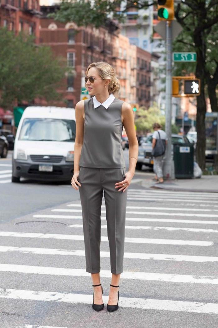 costume pantalon gris top sans manches col blanc accessoires lunettes de soleil idée tenue soirée simple chaussures à talons noires