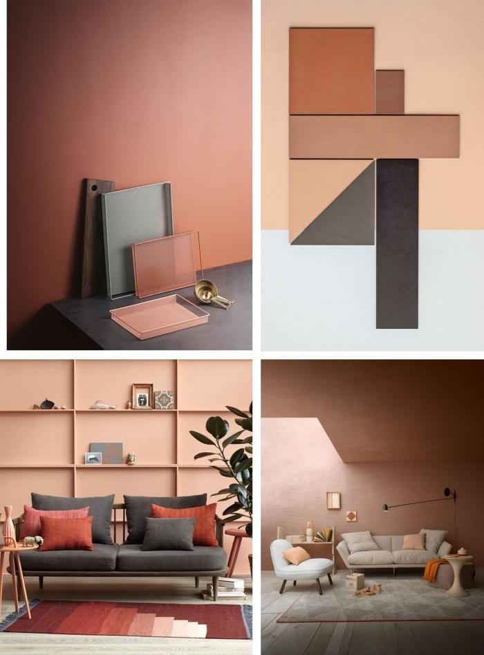 couleur terre cuite décoration intérieur tendance peinture murale nuance terracotta canapé gris coussins décoratifs design moderne déco salon
