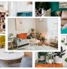 couleurs decoration salon ete chaise jaune moutarde peinture vert foncé rangement mural étagère bois canapé vert sauge plantes vertes intérieur