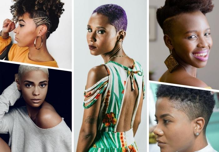 coupe de cheveux court pour femme coupe garçonne cheveux crépus afro coiffure nuque rasée coupe très courte femme