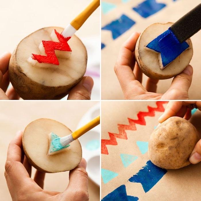 couper des motifs géométriques dans pomme de terre pour faire dessin enfant peinture maternelle idées de bricolage facile et créatif