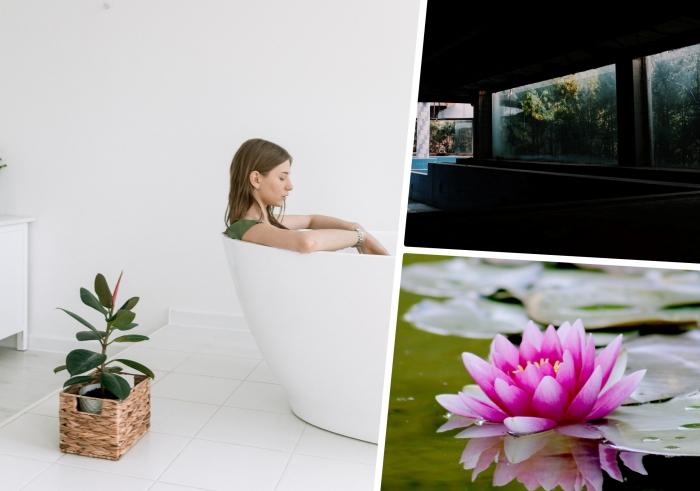 décor minimaliste design salle de bain avec bain japonais autoportant cache pot tressé style japonais étang poisson relaxation