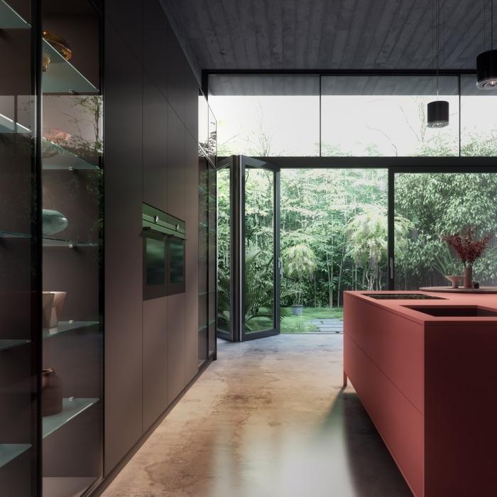 décoration de cuisine terracotta îlot central design intérieur style contemporain meubles sans poignées rangement mural étagère verre