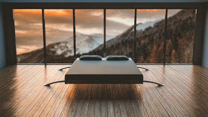 décoration domicile de style japonais lit bois revêtement de sol parquet bois fenêtre minimalisme ameublement