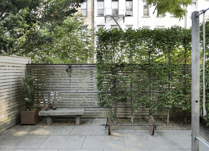 décoration extérieure idée installation cloture brise vue en bois avec plantes grimpantes intimité cache vis à vis jardin