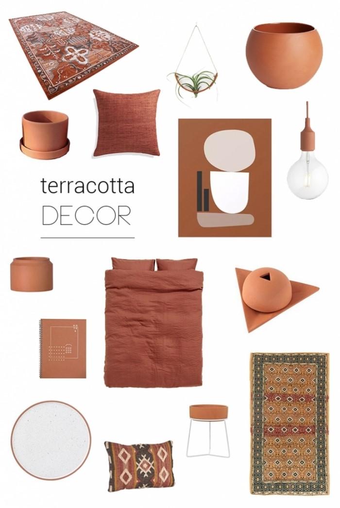 deco couleur terracotta pot fleur terre cuite accessoire couleur tendance tapis multicolore coussin motifs ethniques couverture de lit terracotta