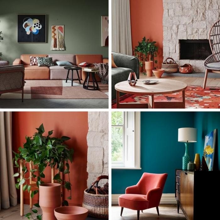 design intérier comment associer la couleur terracotta dans la déco salon vert avec accents terracotta peinture murale tendance terre cuite