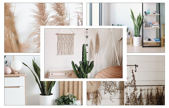 design interieur couleurs terreuses fibre naturelle suspension macrame deco boho chic style minimaliste décorer son salon pour l'été