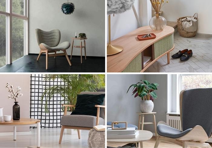 design interieur style moderne decoration salon fauteuil relax panier tresse meuble tv bois et rideaux en tissu vert