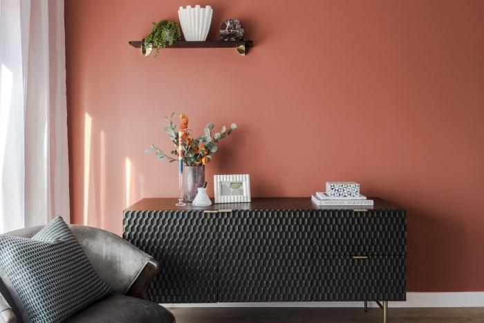 design salon aux murs terracotta meubles gris fauteuil velours gris anthracite armoire noire couleur de peinture pour salon moderne