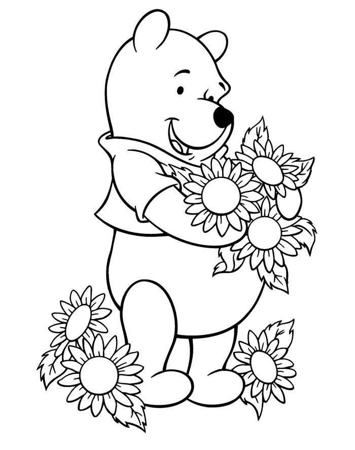 dessin été facile pour enfant illustration fleurs d été bouquet de tournesol personnage littérature enfance winnie ourson