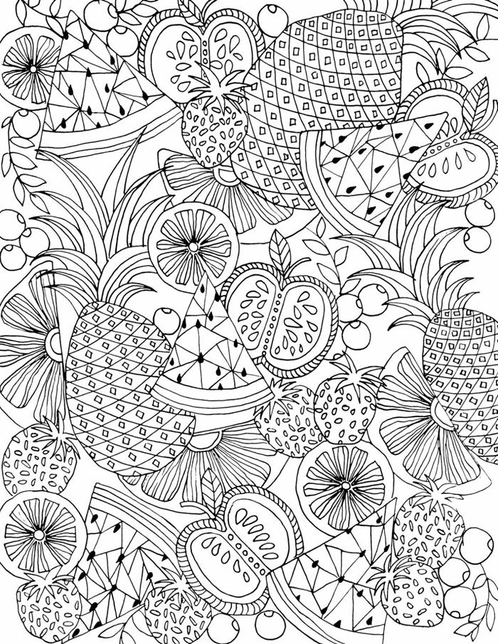 dessin a colorier et a imprimer motifs fruits saison été ananas pastèqe tranches citron pomme feuilles fraises pomegranade