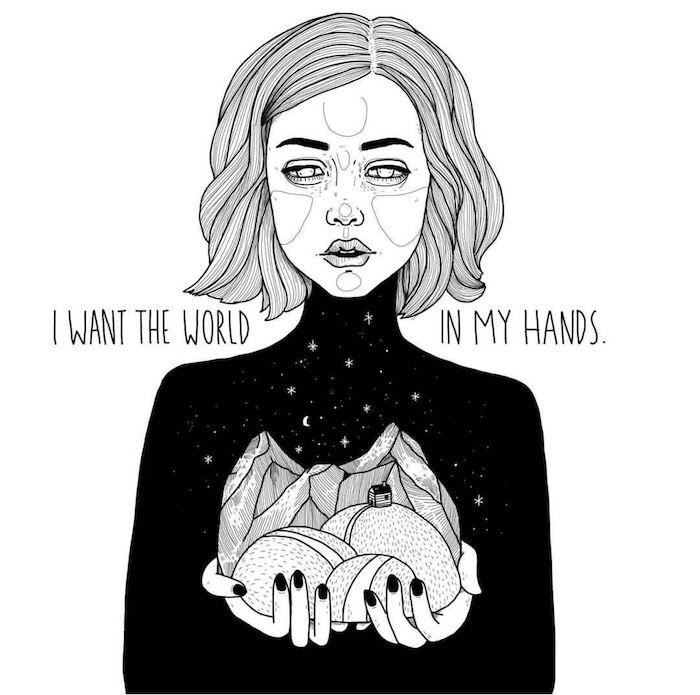 dessin crayon fille et son monde dans les mains dessin fille noir et blanc swag dessins à faire soi meme
