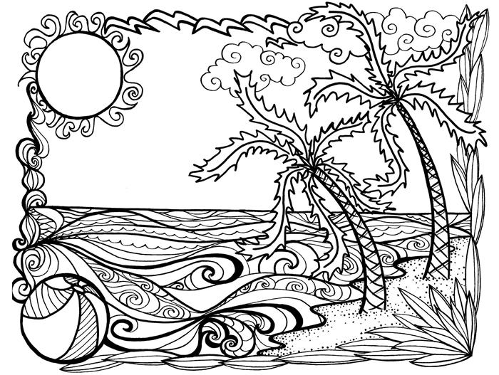 dessin d été soleil paysage lie exotique palmier vague océan dessin motifs mandala art méditation anti stress coloriage adulte