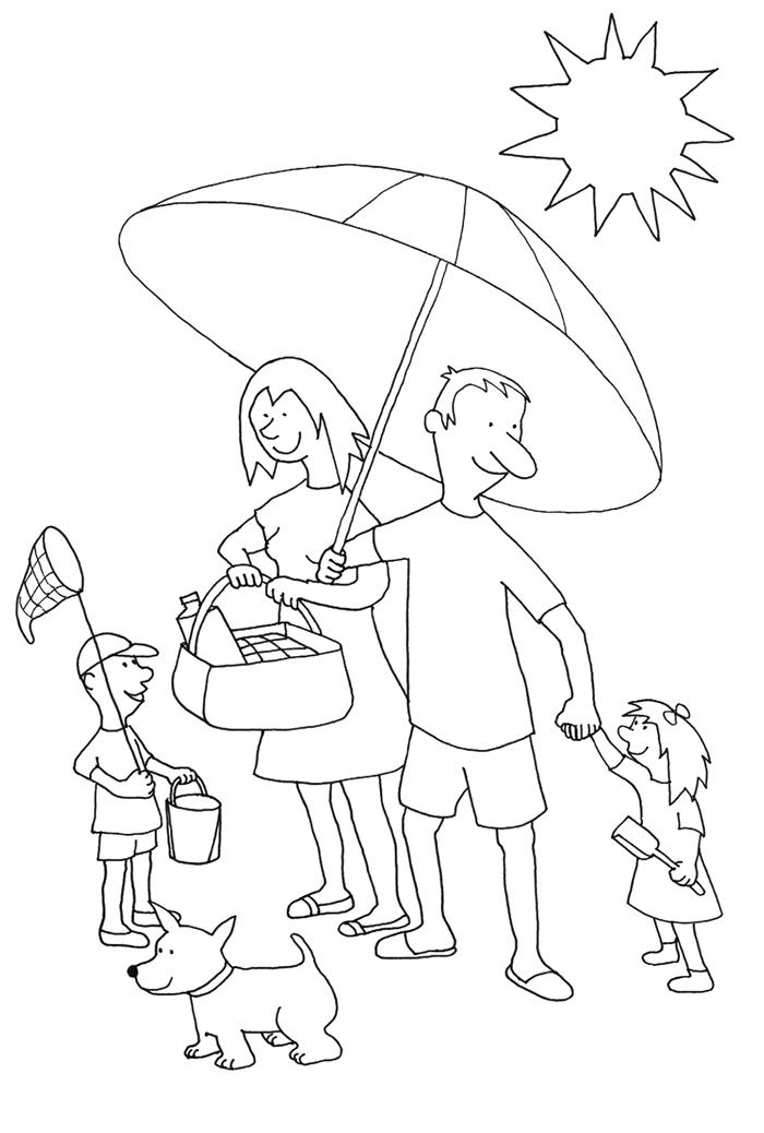 dessin de vacances famille repos au bord de mer vacances d été enfants et parent soleil parasol chien pique nique plage