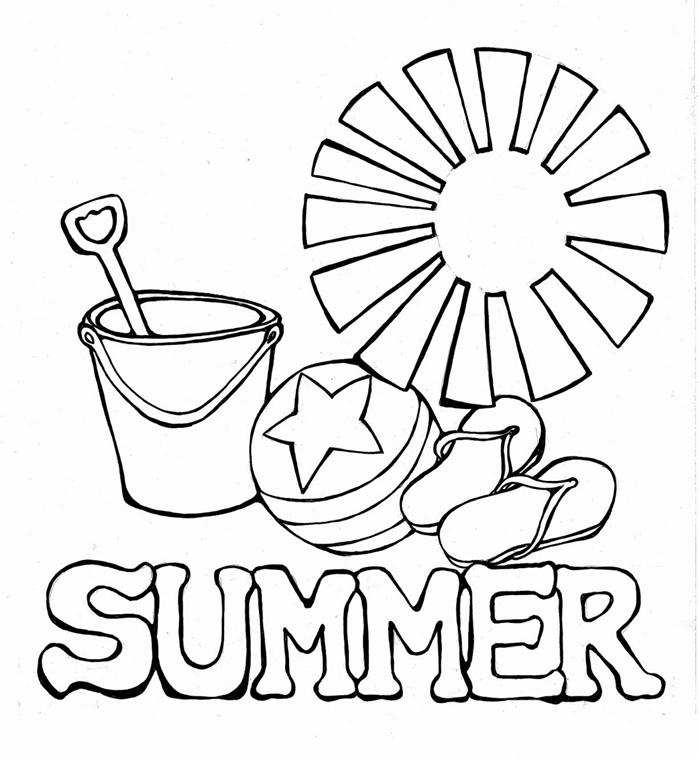 dessin facile simple à imprimer soleil coloriage maternelle jeu sable enfant plastique pelle seau jouet enfant tongues plage