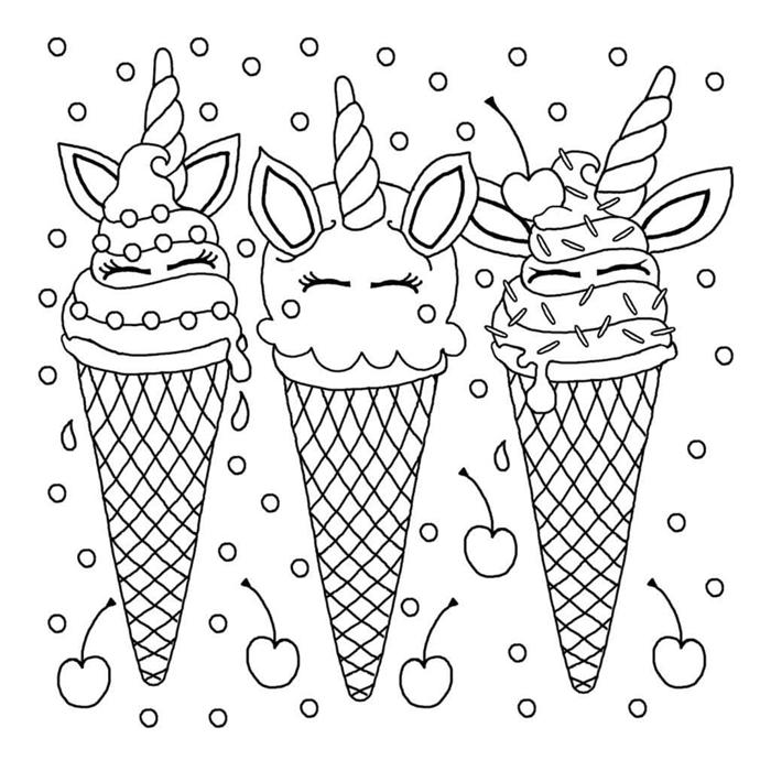 dessin pour fille facile coloriage thérapie loisir anti stress enfant coloriage licorne crème glacée cerises dessin facile à colorier