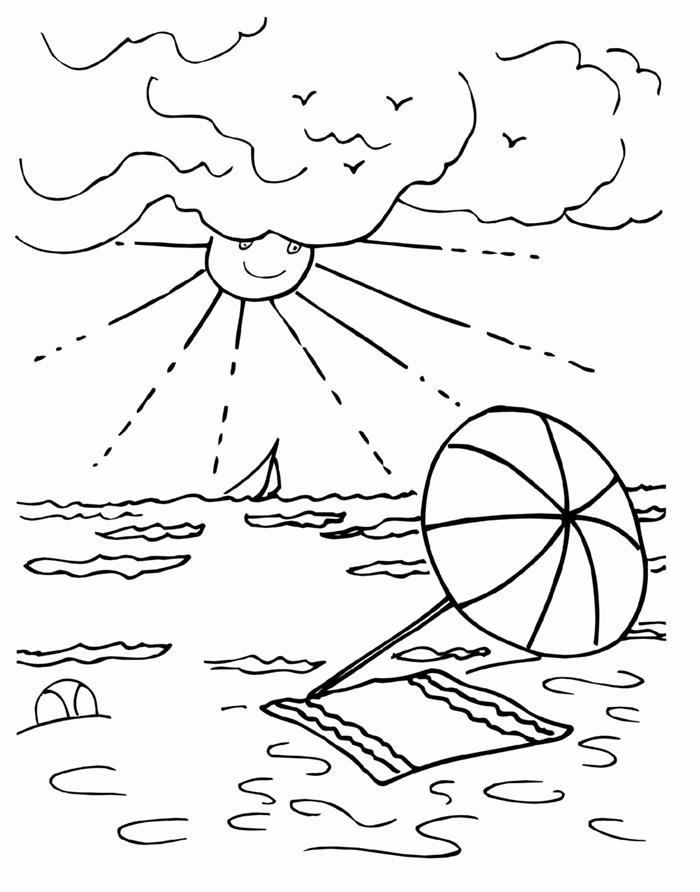 dessin pour garçon illustration facile à colorer parasol plage sable serviette vague mer soleil nuages oiseau paysage vacances