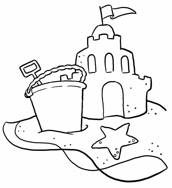 dessin simple à imprimer illustration facile blanc et noir sable château seau et pelle sable jeux enfant mer coloriage été maternelle