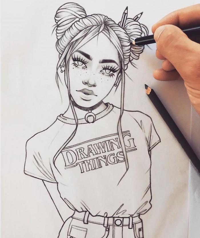 dessin tumblr fille aux cheveux avec des mèches encadrant le visage tee shirt swag comment dessiner un visage t shirt stranger things inspiré