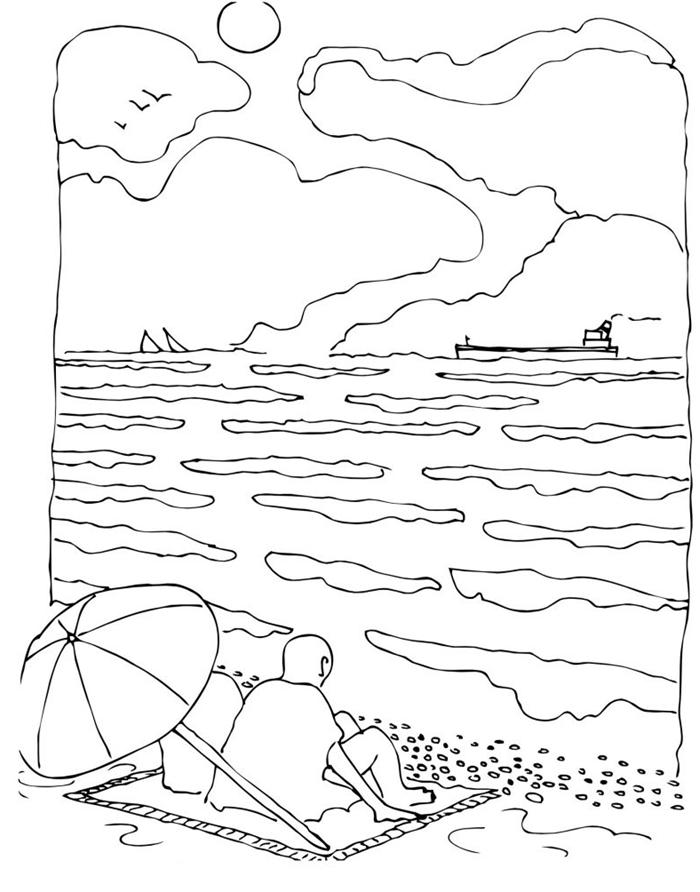dessin vacances été paysage nature vacances mer couple parasol serviette de plage vague mer soleil nuage oiseaux
